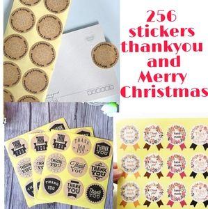 256 stickers thankyou Merry Christmas handmade